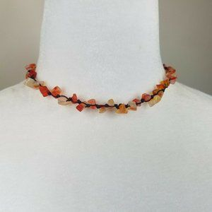 Knotted String Faux Agate 15″ Necklace
